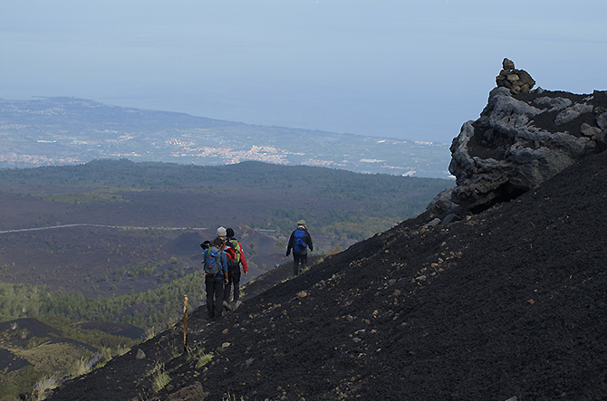 off-trails during Etna Trekking trip